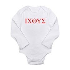 cross and fish Long Sleeve Infant Bodysuit