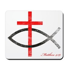 cross and fish Mousepad