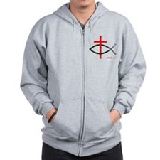 cross and fish Zip Hoodie
