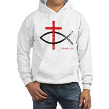 cross and fish Hoodie