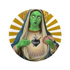 """Virgin Mary Gone Zombie 3.5"""" Button"""