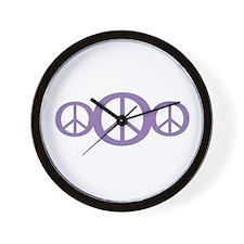 Purple peace signs Wall Clock