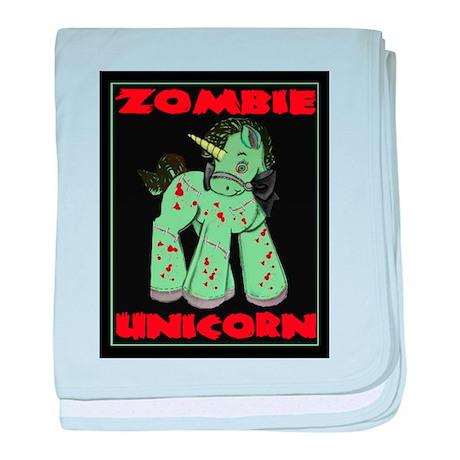 Zombie Unicorn Loves Brains baby blanket