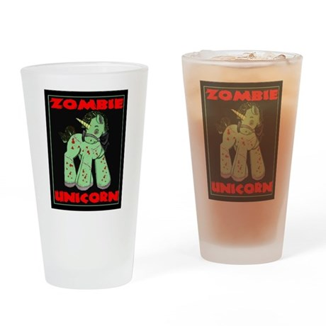 Zombie Unicorn Loves Brains Drinking Glass