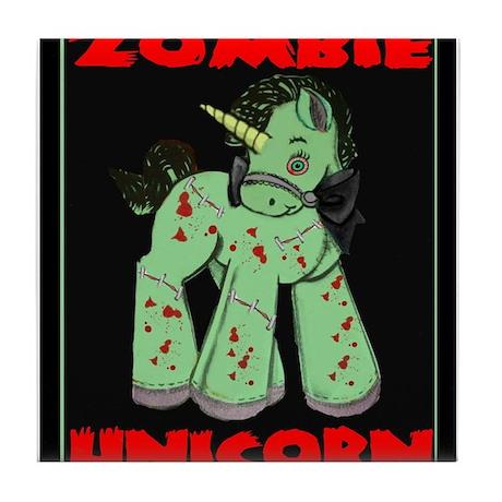 Zombie Unicorn Loves Brains Tile Coaster