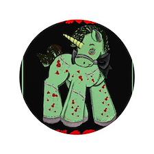 """Zombie Unicorn Loves Brains 3.5"""" Button"""