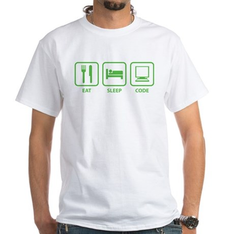 Eat Sleep Code White T-Shirt