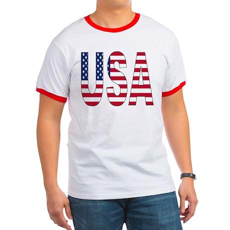 USA flag Men's Ringer T