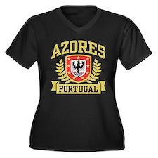 Azores Portugal Women's Plus Size V-Neck Dark T-Sh