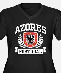 Azores Portugal Women's Plus Size V-Neck Dark T-Sh