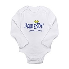 ¡Aquí estoy! copy.png Long Sleeve Infant Bodysuit