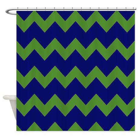 Blue Green Chevrons Shower Curtain