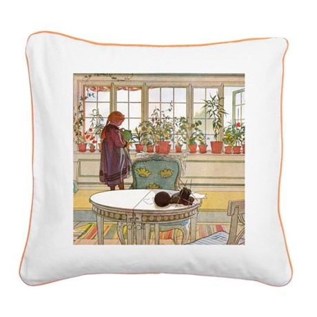 Girl at Window Square Canvas Pillow