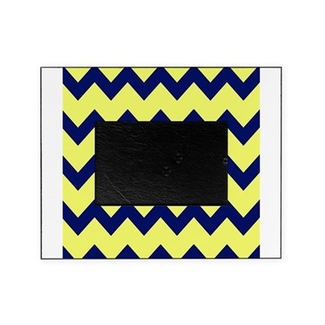 yellow navy blue chevrons picture frame by printedlittletreasures. Black Bedroom Furniture Sets. Home Design Ideas