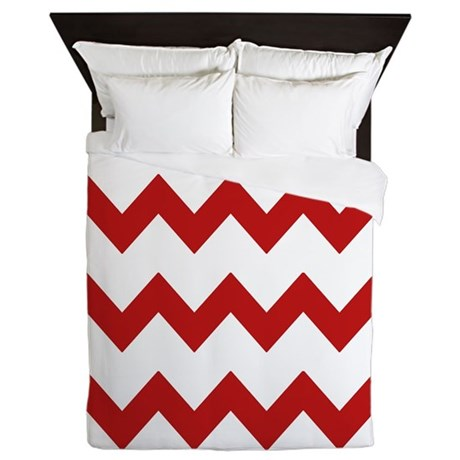 Red White Chevrons Queen Duvet