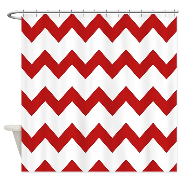 Red White Chevrons Shower Curtain By PrintedLittleTreasures