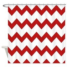 Red White Chevrons Shower Curtain