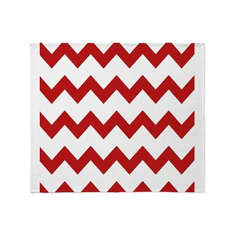 Red White Chevrons Throw Blanket