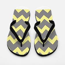Yellow Gray Chevrons Flip Flops
