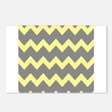 Yellow Gray Chevrons Postcards (Package of 8)