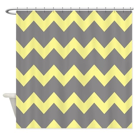 Yellow gray chevrons shower curtain by printedlittletreasures