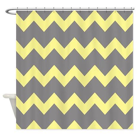 Grey And Yellow Chevron Shower Curtain