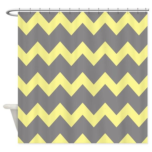 Yellow Gray Chevrons Shower Curtain By PrintedLittleTreasures