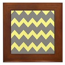 Yellow Gray Chevrons Framed Tile