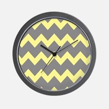 Yellow Gray Chevrons Wall Clock