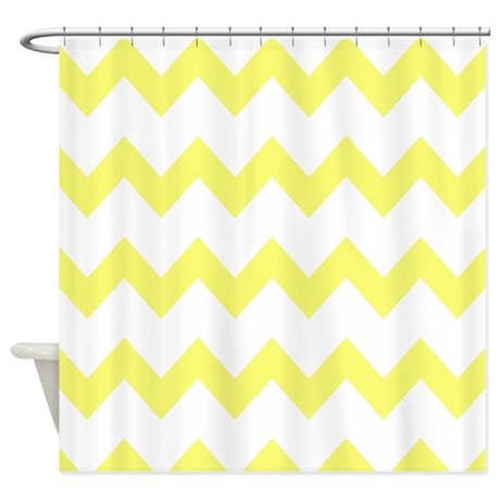 Yellow White Chevrons Shower Curtain by PrintedLittleTreasures