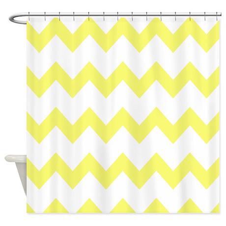Yellow White Chevrons Shower Curtain By Printedlittletreasures