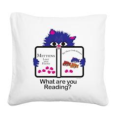 Reading Kitten Square Canvas Pillow