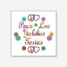 "Yorkshire Terriers Square Sticker 3"" x 3"""