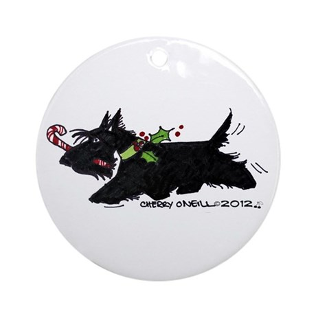 Scottie Candy Cane Ornament (Round)