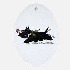 Scottie Candy Cane Ornament (Oval)