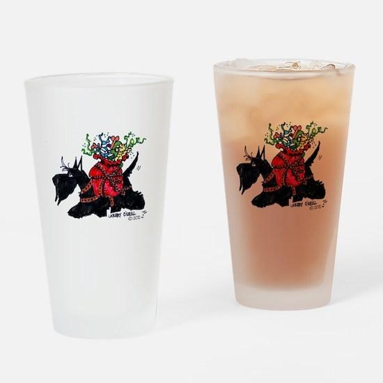 Scotttie Santas Helper Drinking Glass