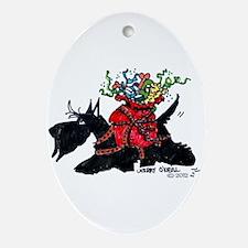 Scotttie Santas Helper Ornament (Oval)