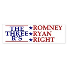 Three R's Romney Ryan Right Bumper Sticker