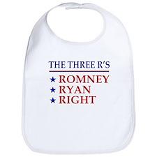 Three R's Romney Ryan Right Bib