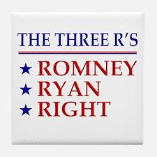 Three R's Romney Ryan Right Tile Coaster