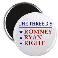 Three R's Romney Ryan Right Magnet