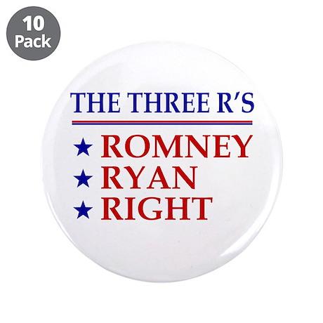 "Three R's Romney Ryan Right 3.5"" Button (10 pack)"