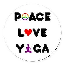 Peace Love Yoga Round Car Magnet