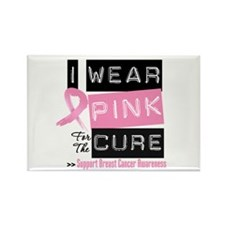 Pink Cure Breast Cancer Rectangle Magnet