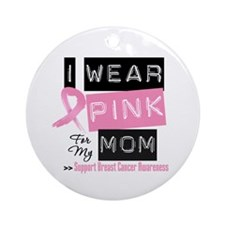 Pink Mom Breast Cancer Ornament (Round)