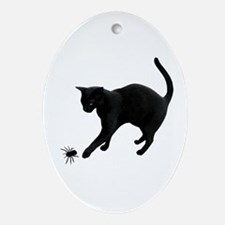 Black Cat Spider Ornament (Oval)