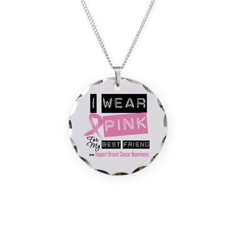 Best Friend Breast Cancer Necklace Circle Charm
