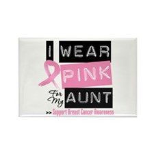 Pink Aunt Breast Cancer Rectangle Magnet