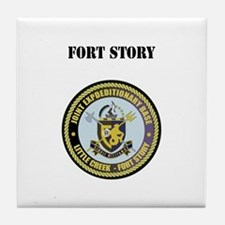 Fort Story with Text Tile Coaster
