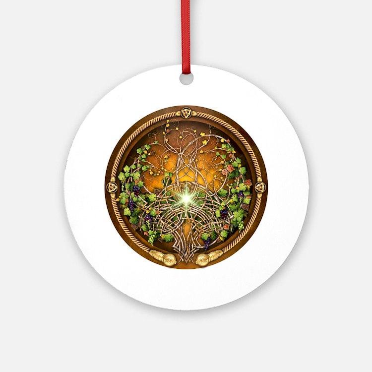 Sacred Celtic Trees - Vine Ornament (Round)